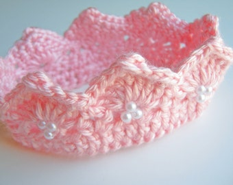Crochet Baby Prince Princess Crown Tiara 0 to 3 months Made To Order