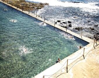 Nature Photograph, Seascape, Ocean Pool, Summer, Seaside - The ocean bathers