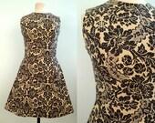 R E S E R V E D Black & Tan Floral Pattern Dress