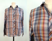 Shades of Blue Unisex Plaid Shirt Size Small