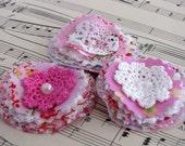 Pretty Linen Posy set - Pinks