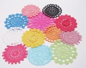 Hand dyed Crochet Doily Pack of 12 - Happy Days
