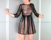 Black And Pale Pink Cerimony Silk Chiffon Dress Size XS S M