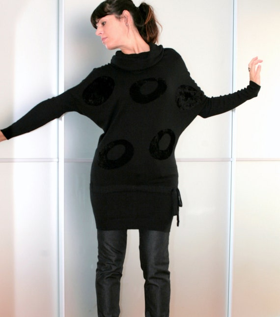Black Long Sweater Dress Feminine and Sexy Size XS S M L