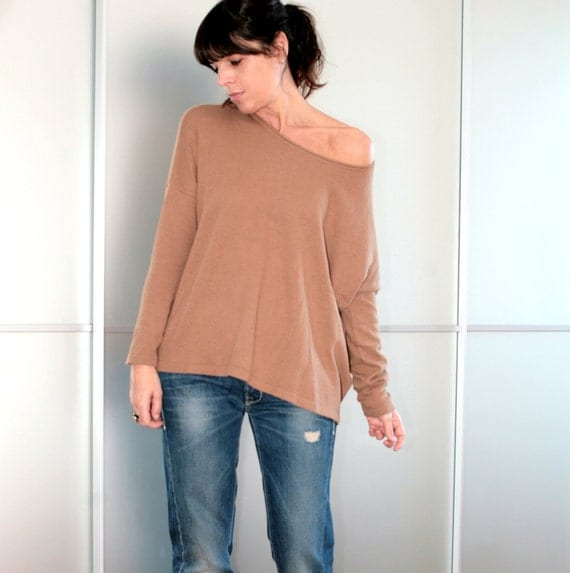 Camel Oversized Wool Sweater Long Sleeves Size XS S M L