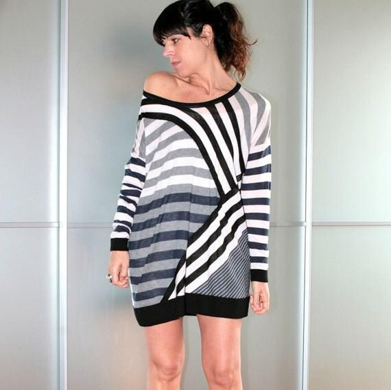 Stripe Womens Knitted Cotton Stylish Sweater Dress Size S M L XL XXL