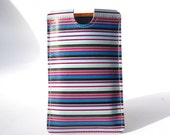 Custom Phone Case / Indigo iPhone Case Cover / iPod Case candy stripe Design printed on leather for all smart phones