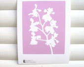 Art Print 10x8 - Pink Orchid - Modern Botanical Floral Pretty Papercut Design