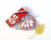 Pocket Mirror - Wild Strawberry Red Botanical Papercut Design