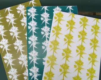 SALE: Thistles Greetings Cards - Set of Three in Lime, Teal and Olive Botanical Papercut Designs