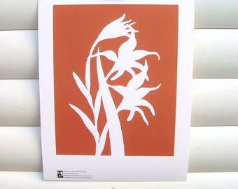 Art Print 10x8 - Orange Gladiolus - Modern Botanical Floral Pretty Papercut Design