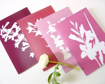 Botanical Paper Cut Postcards - Set of Four in Pink and Purple Flowers Nature Designs