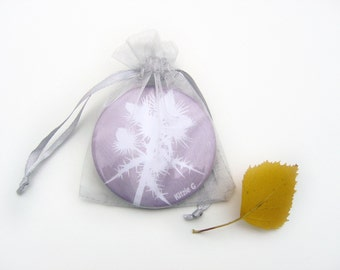 Pocket Mirror - Purple Thistle Botanical Papercut Design