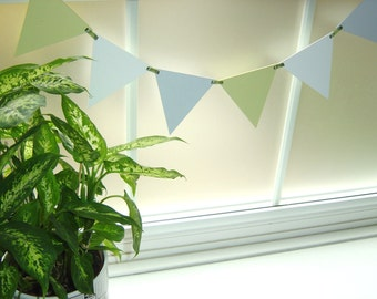 Colourful Wooden Bunting Garland - Green, Gray White Pennants