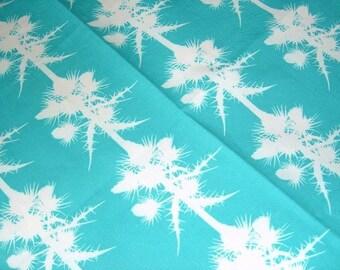 LAST ONE: Thistles Cotton Tea Towel - Ocean Turquoise Blue - Botanical Paper Cut Design