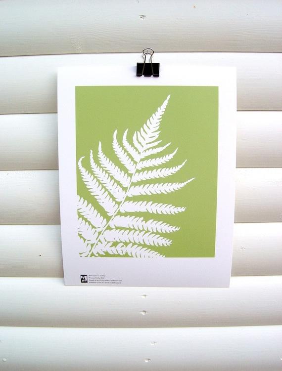 Botanical Art Print Green Fern Leaf - 10 x 8 Modern Nature Floral Garden Papercut
