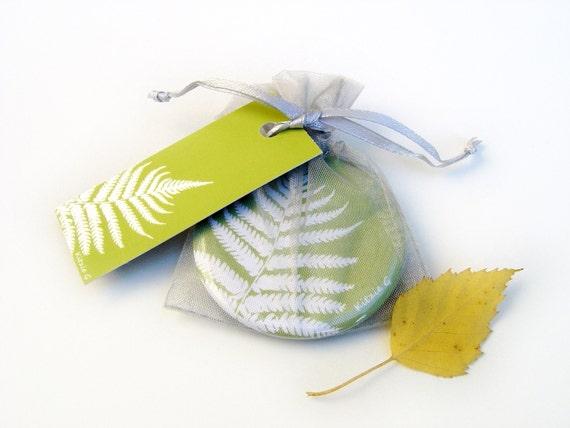 Pocket Mirror - Green Fern Botanical Papercut Design