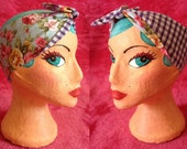 English Rose, Shabby Chic Rose reversable with gingham Head Scarf, Land girl 40s style, double sided