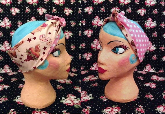 Rockabilly Sailor Jerry Style Tattoo Print and Pink Polka Dot reversable bandana/head scarf