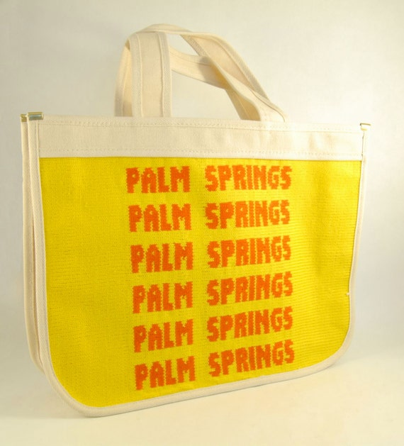 Vintage canvas palm springs florida tote