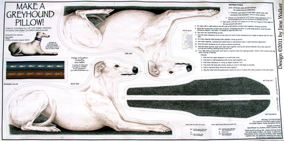 Greyhound Animal Pillow Kit Panel, white coat color