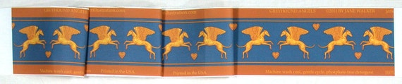 Angel Dog Fabric, Winged Greyhound Material, teal and gold