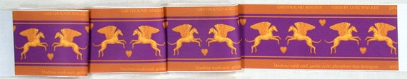 Angel Dog Fabric, Winged Greyhound Material, purple and gold