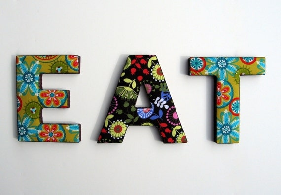 decorative fabric and wood letter wall art spelling eat in With decorative fabric letters