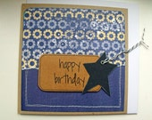 Masculine Blue Gears Happy Birthday Card