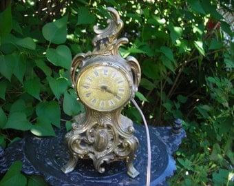 vintage French Louis VX Ornate Gold Metal Clock