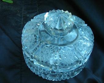 vintage cut glass covered jewl dish trinket