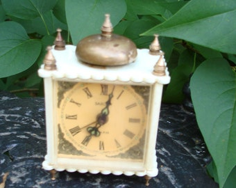 vintage clock  brass plastic roses ornate germany parts