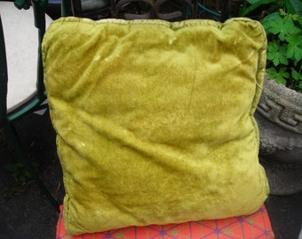 vintage  pillow green decorator velveteen