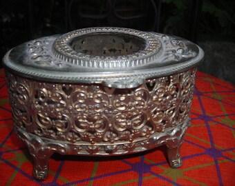vintage box metal ornate jewlery trinket old vanity