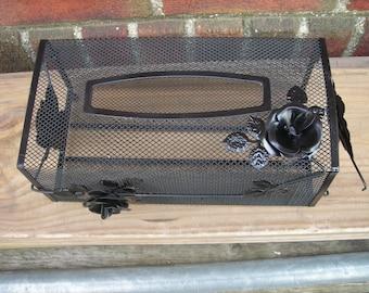 vintage  tissue box storage black metal mesh tole rose