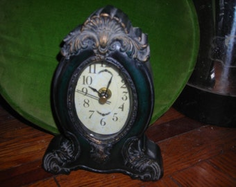 vintage clock Victorian look ornate hard plastic battery run