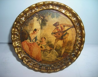 vintage art made in Italy romantic scene Florentine small picture wood frame