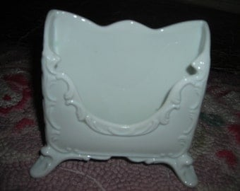 vintage china mail holder office desk ornate white