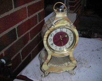 vintage music alarm clock swiss look French ornate plastic case  sabby chic quartz
