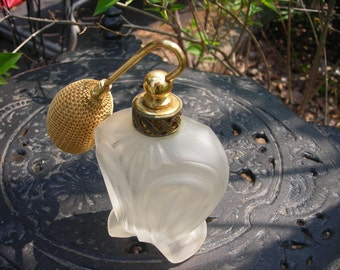vintage perfume bottle ornate frosted glass