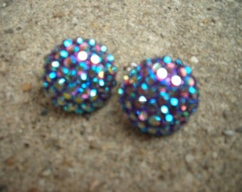 vintage earrings rhinestone clip on blue