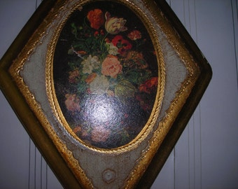 vintage art flowers roses  Florentine plaque gold wood made in Italy diamond shape flowers
