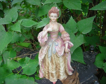 vintage figurine women Victorian dress pink