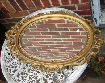 vintage mirror syroco gold  large ornATE