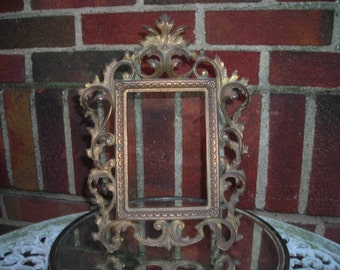 antique frame picture or mirror standing ornate brass