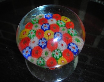 vintage glass paperweight flowers italy cane glass