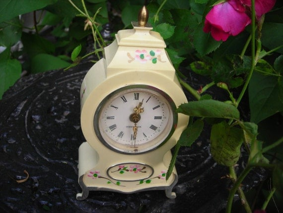 vintage clock westclox pink flowers french cream