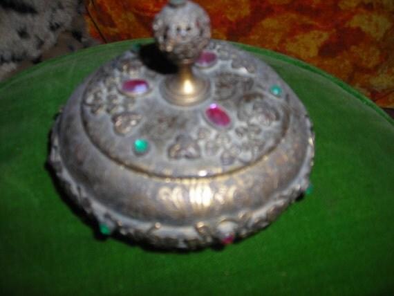 vintage trinket box brass stones ornate fill agree rhinestones flowers leaf vine detail