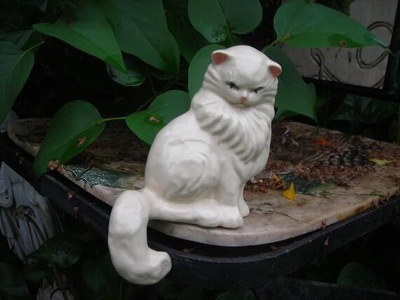 vintage ceramic cat white fluffy shelf sitting ceramic arts studio hanging tail
