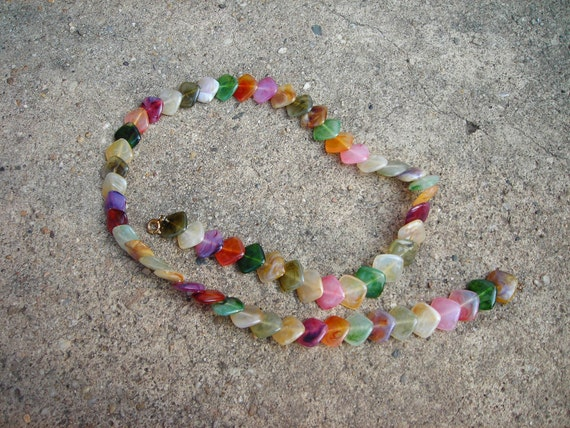 vintage necklace color marble look glass beads summer fall color